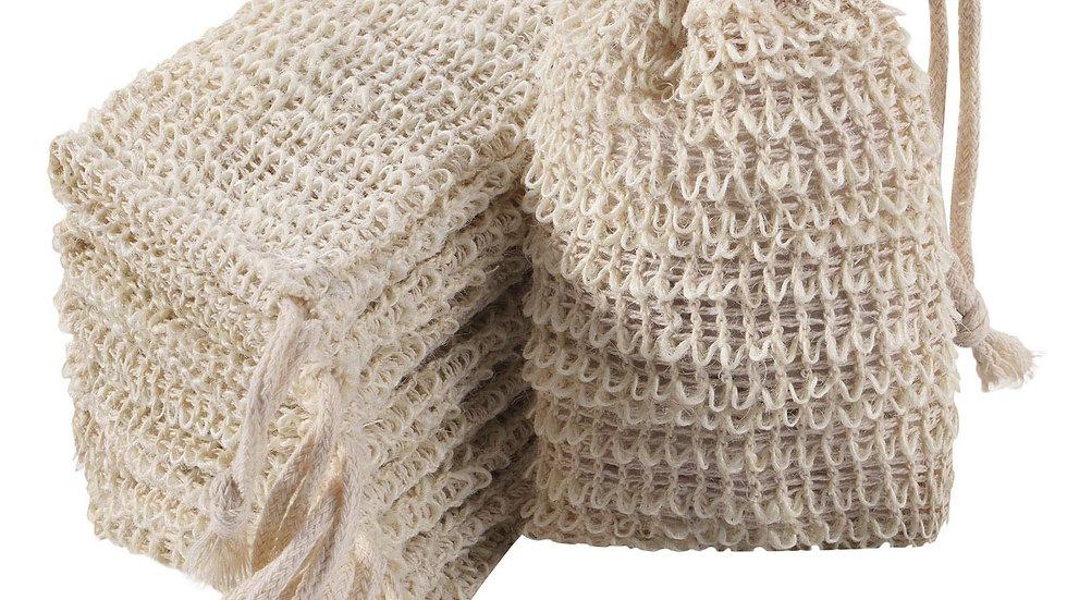 Handmade Natural Ramie Soap Bag with Drawstring