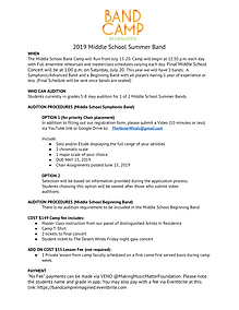 2019 Middle School Summer Honor Band Inf