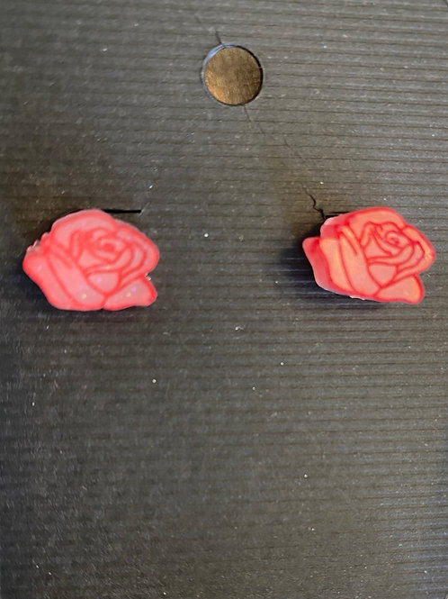 Small red rose earrings