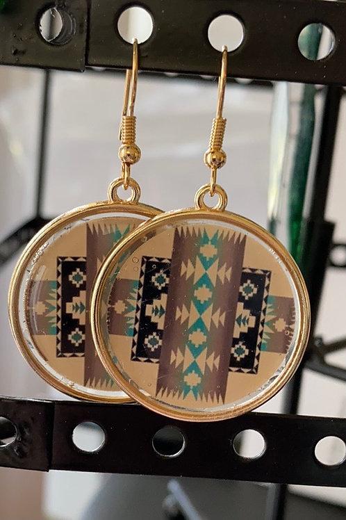 Pendleton inspired drop earrings