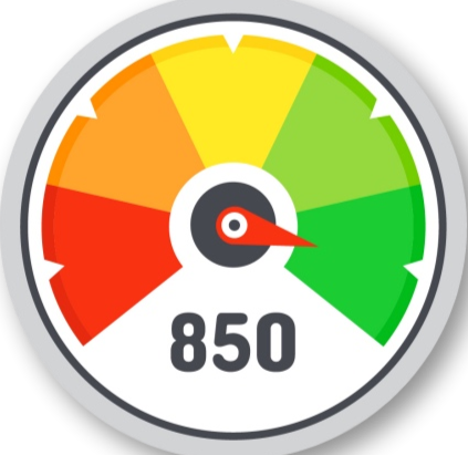 A meter showing excellent credit score