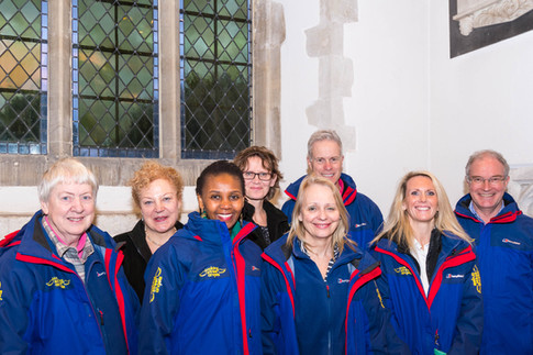 New Angels 2018: (left to right) Anne, Lynn, Monica, Outi, Sue, Chris, Laura and Ian