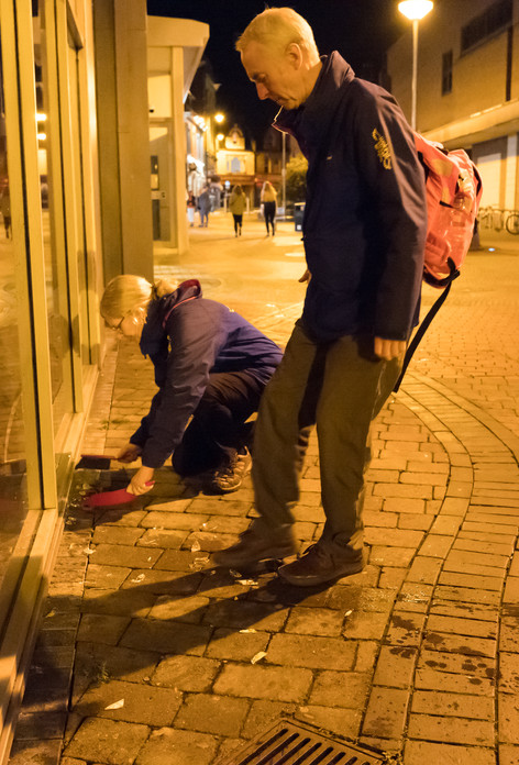 Street Angels clearing up broken glass