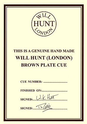 Will Hunt (London) Brown Plate certificate