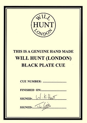 Will Hunt (London) Black Plate certificate