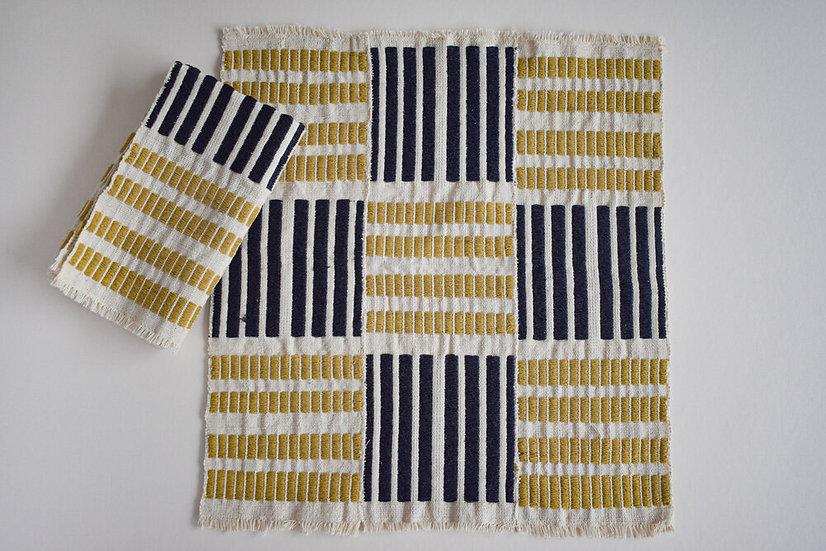 Seri No. 3 Napkins 4 piece set | Ochre & Charcoal