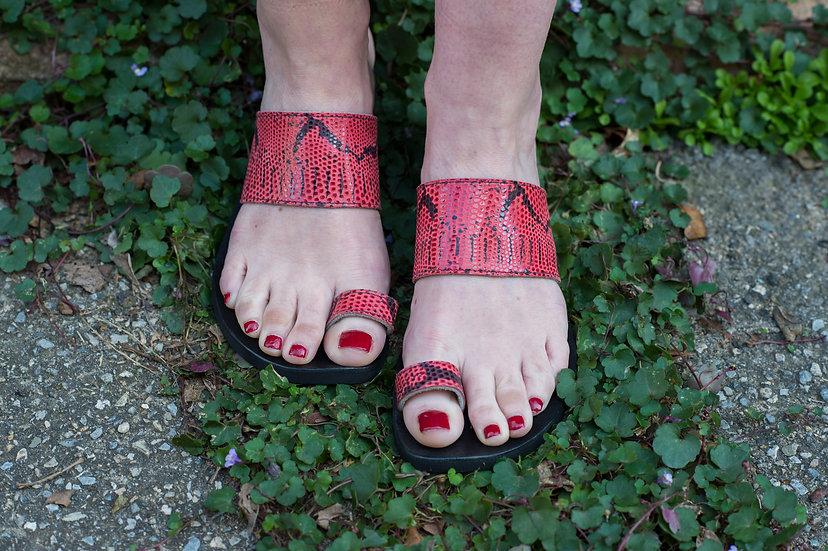 Red Snake Skin Leather Sandal