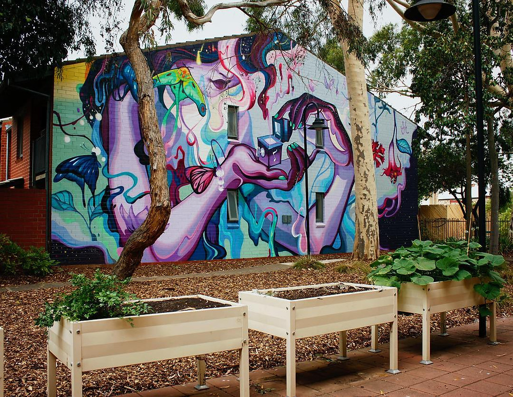 mural of Pandoras Box by artist Sarah Boese