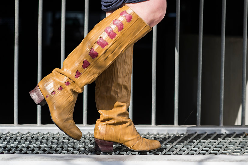 Tan Inlay Pull-on Boot knee high