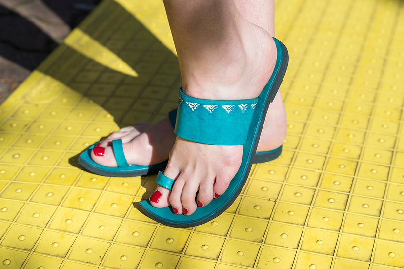 Turquoise Indian Embossed Sandal