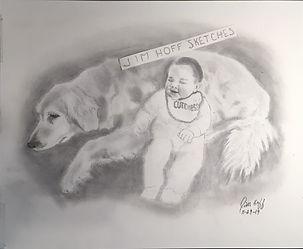 Sheryl Purdie pup and baby sketch (2).JP
