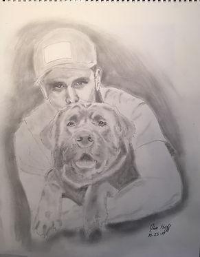 Kristin Elrod Nephew and Dog Sketch (2).