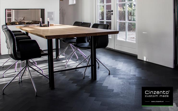 donkere visgraat vloer houten vloer zwart
