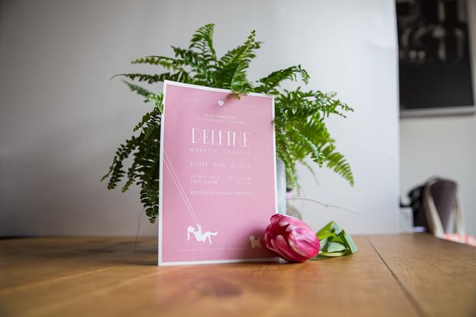 Roze geboortekaart op maat met persoonlijke illustraties