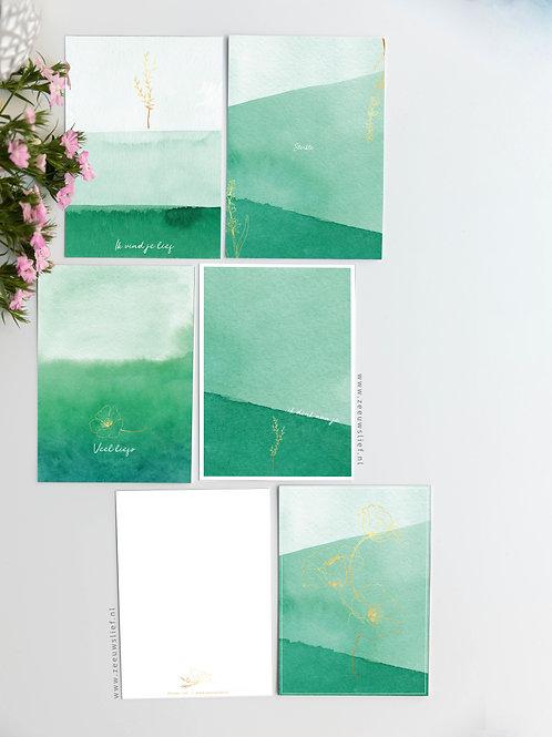 Ansichtkaarten set van 5 - Groen&Goud