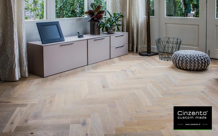 Cinzento houten patroonvloer visgraat