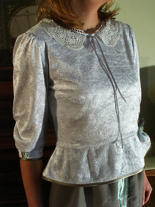 Grey velur blouse