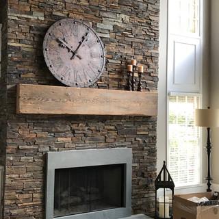 Heart Pine Mantel On Stone Fireplace