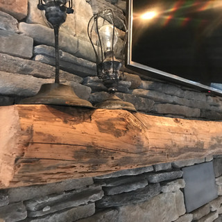 Fireplace Mantel | Reclaimed Live Edge Heart Pine