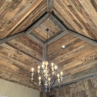 Bedroom Vaulted Ceiling | Brown Hardwood Paneling