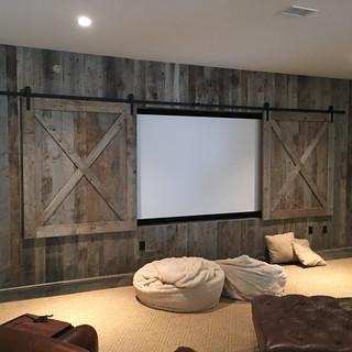 Feature Wall with TV Hide Barn Door Set