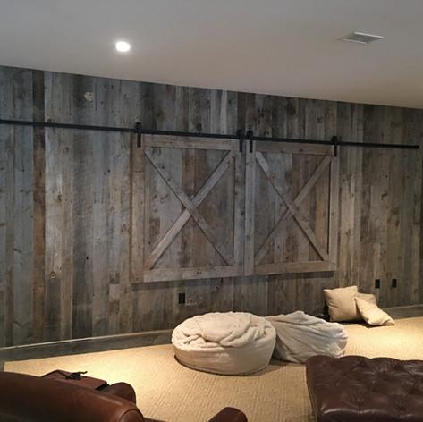 TV Hide Barn Doors Set - Closed