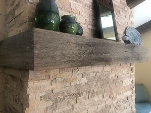 Fireplace Mantle _ Gray Oak Box Beam