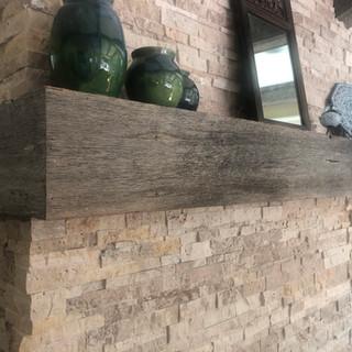 Fireplace Box Mantel | Gray Oak Box Beam