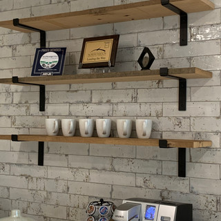 Reclaimed Wood Shelves at G Squared Offices