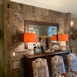 Dining Room Feature Wall | Poplar Bark Tiles