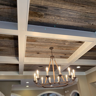 Coffered Ceiling | Gray Oak Paneling