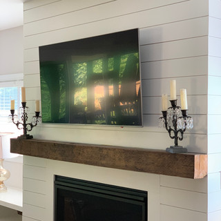 Fireplace Mantel-Shiplap } Rough Sawn Hardwood