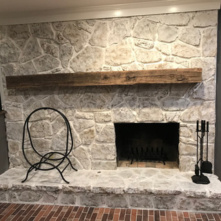 Stone Fireplace | Rough Sawn Hardwood