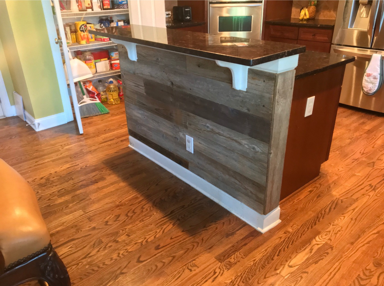 Kitchen Island Reclaimed Wood Paneling