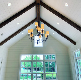 Hand Hewn Beams in Vaulted Ceiling