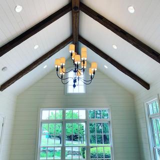 Hand Hewn Beams in Vaulted Ceiling