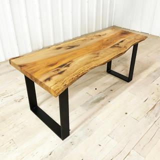 Live edge pecan table with metal legs