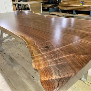 Live edge walnut table metal legs