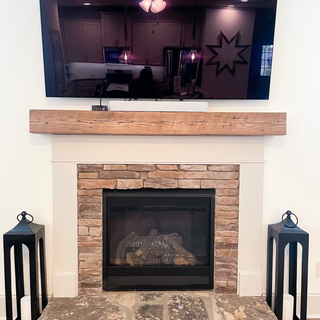 Oak fireplace mantel in natural finish.HEIC