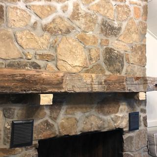 Fireplace Mantel & Corbels | Rough Sawn Hardwood