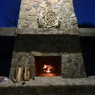 Outdoor Fireplace Hand Hewn Mantel