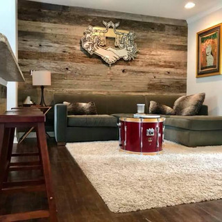 Living Room Accent Wall   Barnwood Paneling