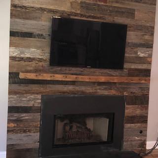 Fireplace Mantel & Barnwood Wall