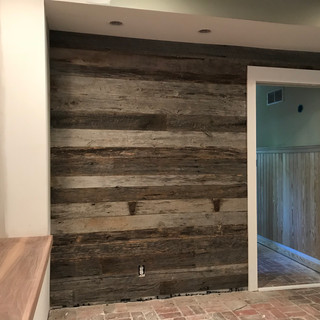 Home Office Accent Wall | Reclaimed Oak Paneling