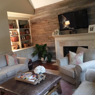 Living Room Accent Wall | Reclaimed Wood Paneling