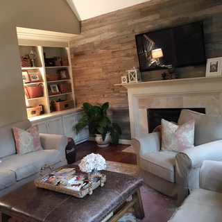 Living Room Accent Wall   Reclaimed Wood Paneling