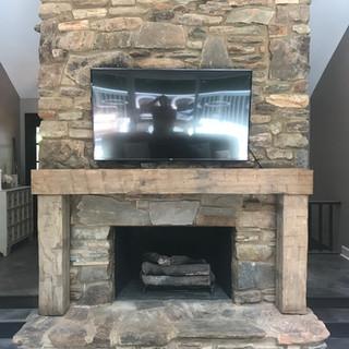 Fireplace Mantel & Columns | Hand Hewn Oak Beam