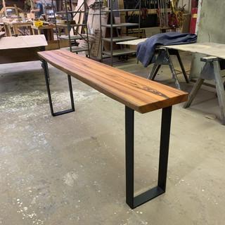 Live edge tigerwood sofa table with metal legs