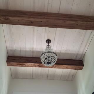 Mushroom Wood Box Beams on White Washed Wood Ceiling