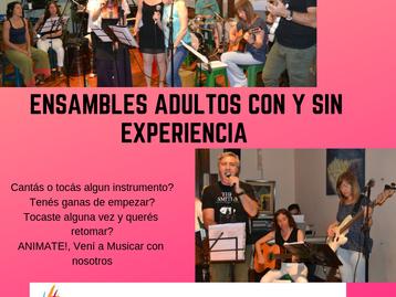 NUEVOS ENSAMBLE DE ADULTOS SIN EXPERIENCIA! 27 de marzo CLASE ABIERTA!!